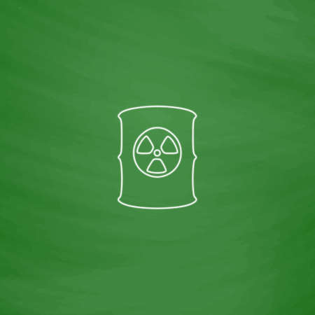 radioactive waste: Radioactive waste Outline vector icon. Imitation draw with white chalk on green chalkboard. Flat Pictogram and School board background. Illustration symbol Illustration