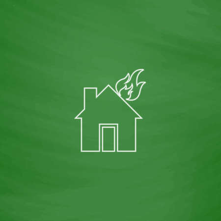 house fire Outline vector icon. Imitation draw with white chalk on green chalkboard. Flat Pictogram and School board background. Illustration symbol