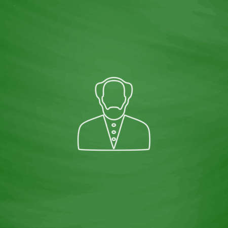 bald man: Bald Man Outline vector icon. Imitation draw with white chalk on green chalkboard. Flat Pictogram and School board background. Illustration symbol