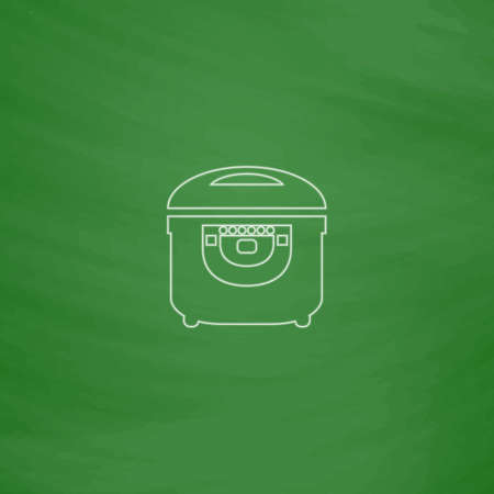 slow food: electric pan Outline vector icon. Imitation draw with white chalk on green chalkboard. Flat Pictogram and School board background. Illustration symbol Illustration