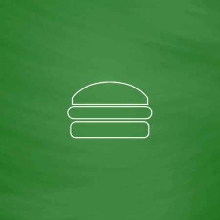 american cuisine: Burger Outline vector icon. Imitation draw with white chalk on green chalkboard. Flat Pictogram and School board background. Illustration symbol
