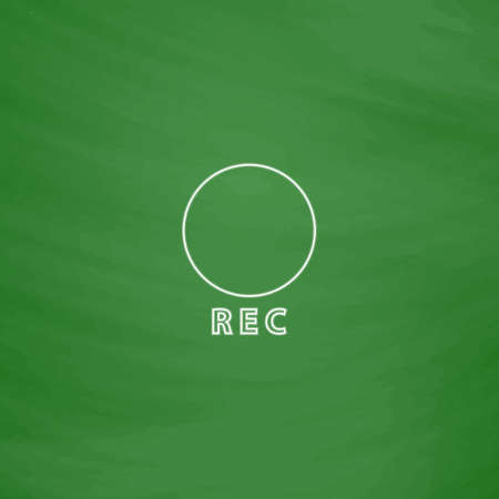 rec: Rec Outline vector icon. Imitation draw with white chalk on green chalkboard. Flat Pictogram and School board background. Illustration symbol