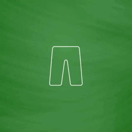 board shorts: shorts Outline vector icon. Imitation draw with white chalk on green chalkboard. Flat Pictogram and School board background. Illustration symbol