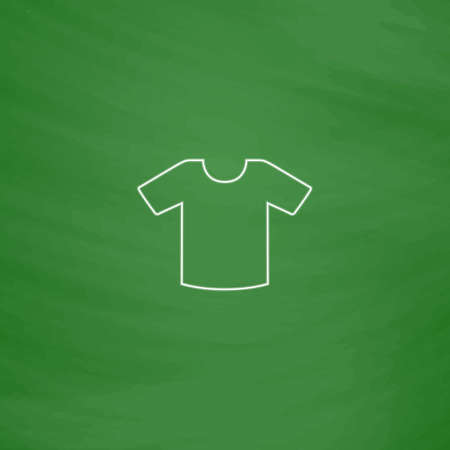 Shirt Outline vector icon. Imitation draw with white chalk on green chalkboard. Flat Pictogram and School board background. Illustration symbol Illustration