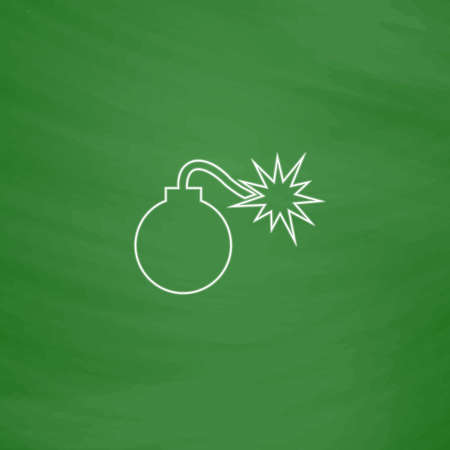 bombshell: Bomb Outline vector icon. Imitation draw with white chalk on green chalkboard. Flat Pictogram and School board background. Illustration symbol