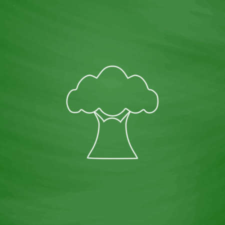 baobab: Baobab Outline vector icon. Imitation draw with white chalk on green chalkboard. Flat Pictogram and School board background. Illustration symbol