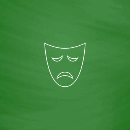tragedy mask Outline vector icon. Imitation draw with white chalk on green chalkboard. Flat Pictogram and School board background. Illustration symbol
