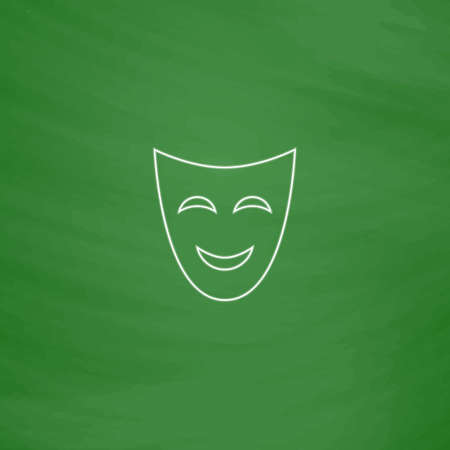 comedy mask: comedy mask Outline vector icon. Imitation draw with white chalk on green chalkboard. Flat Pictogram and School board background. Illustration symbol Illustration