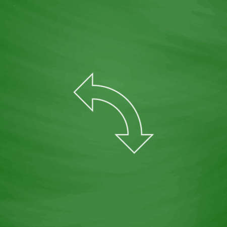 uturn: U-Turn Outline vector icon. Imitation draw with white chalk on green chalkboard. Flat Pictogram and School board background. Illustration symbol Illustration