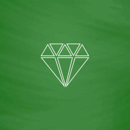Diamond Outline vector icon. Imitation draw with white chalk on green chalkboard. Flat Pictogram and School board background. Illustration symbol Illustration