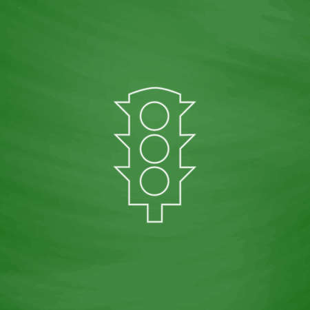 semaforo peatonal: Traffic lights Outline vector icon. Imitation draw with white chalk on green chalkboard. Flat Pictogram and School board background. Illustration symbol