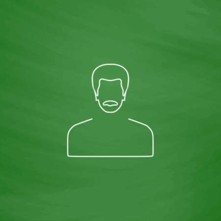 mustached: mustached man Outline vector icon. Imitation draw with white chalk on green chalkboard. Flat Pictogram and School board background. Illustration symbol