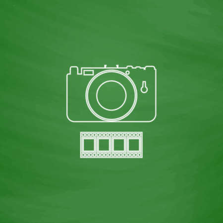 journalistic: Camera Outline vector icon. Imitation draw with white chalk on green chalkboard. Flat Pictogram and School board background. Illustration symbol Illustration
