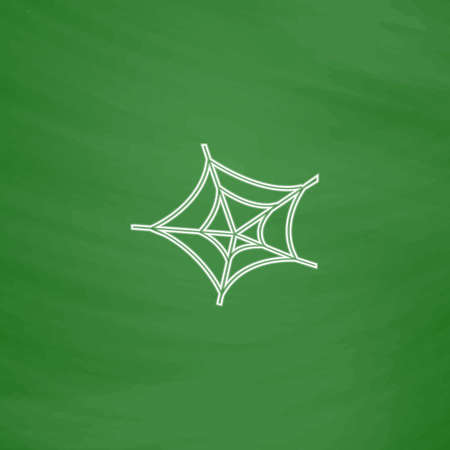 spiderweb: Spiderweb Outline vector icon. Imitation draw with white chalk on green chalkboard. Flat Pictogram and School board background. Illustration symbol