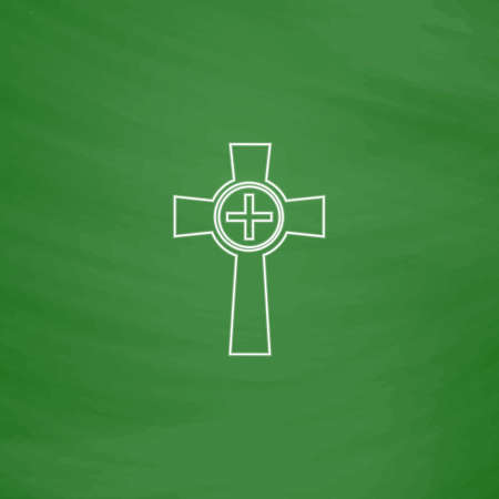 Tombstone Outline vector icon. Imitation draw with white chalk on green chalkboard. Flat Pictogram and School board background. Illustration symbol Illustration