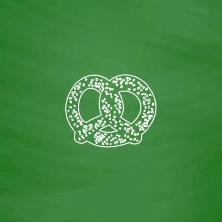 bretzel: Pretzel Outline vector icon. Imitation draw with white chalk on green chalkboard. Flat Pictogram and School board background. Illustration symbol
