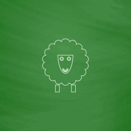 Sheep Outline vector icon. Imitation draw with white chalk on green chalkboard. Flat Pictogram and School board background. Illustration symbol Illustration