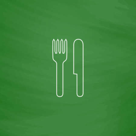 fork and knife Outline vector icon. Imitation draw with white chalk on green chalkboard. Flat Pictogram and School board background. Illustration symbol Illustration
