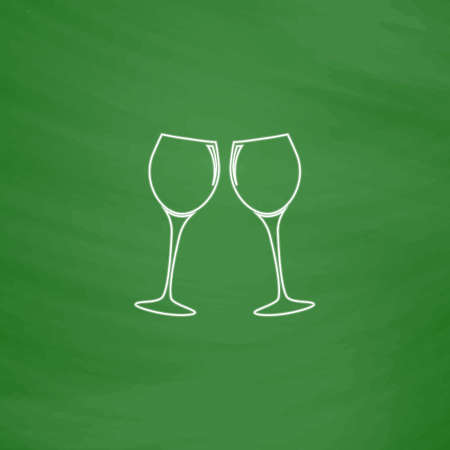 clink: clink glasses Outline vector icon. Imitation draw with white chalk on green chalkboard. Flat Pictogram and School board background. Illustration symbol