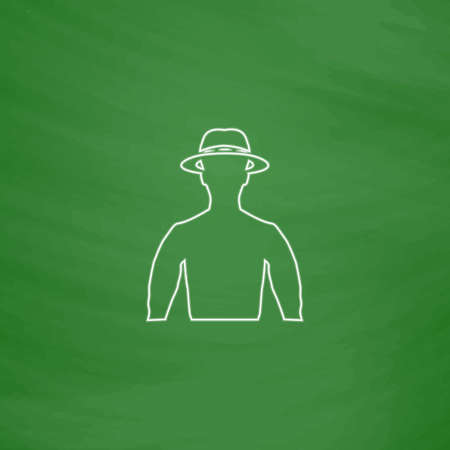 macho Outline vector icon. Imitation draw with white chalk on green chalkboard. Flat Pictogram and School board background. Illustration symbol