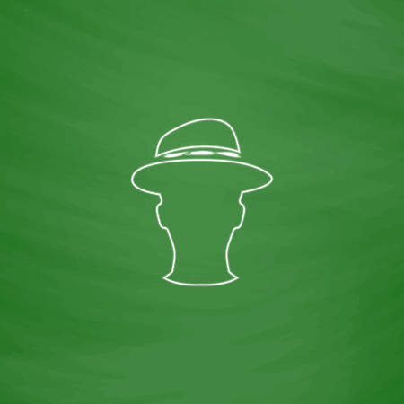 gentleman Outline vector icon. Imitation draw with white chalk on green chalkboard. Flat Pictogram and School board background. Illustration symbol Illustration