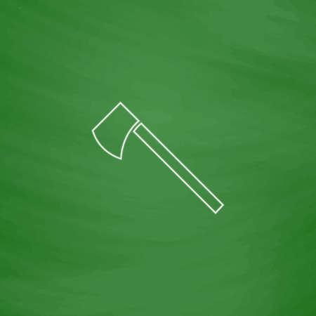 hatchet: hatchet Outline vector icon. Imitation draw with white chalk on green chalkboard. Flat Pictogram and School board background. Illustration symbol Illustration