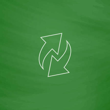 reload Outline vector icon. Imitation draw with white chalk on green chalkboard. Flat Pictogram and School board background. Illustration symbol