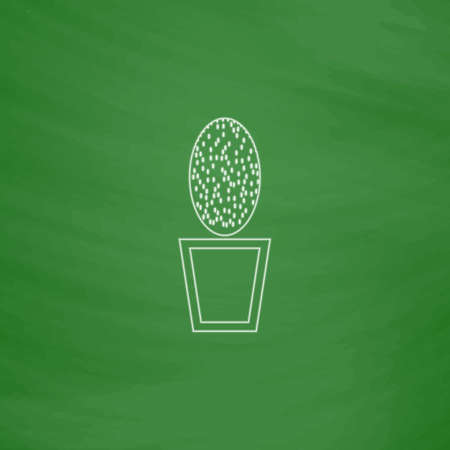 cacti Outline vector icon. Imitation draw with white chalk on green chalkboard. Flat Pictogram and School board background. Illustration symbol Illustration