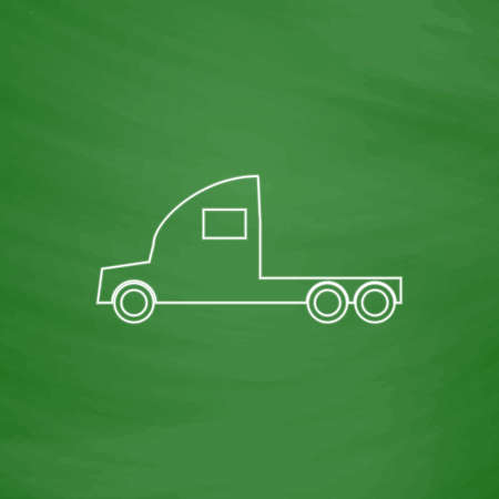 18 wheeler: cargo truck Outline vector icon. Imitation draw with white chalk on green chalkboard. Flat Pictogram and School board background. Illustration symbol Illustration