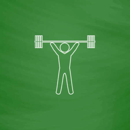 Weightlifting Outline vector icon. Imitation draw with white chalk on green chalkboard. Flat Pictogram and School board background. Illustration symbol Illustration