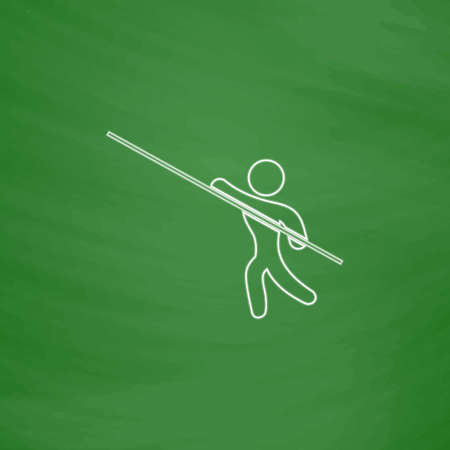 pole vault: Pole vault Outline vector icon. Imitation draw with white chalk on green chalkboard. Flat Pictogram and School board background. Illustration symbol