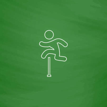 steeplechase: Steeplechase Outline vector icon. Imitation draw with white chalk on green chalkboard. Flat Pictogram and School board background. Illustration symbol Illustration