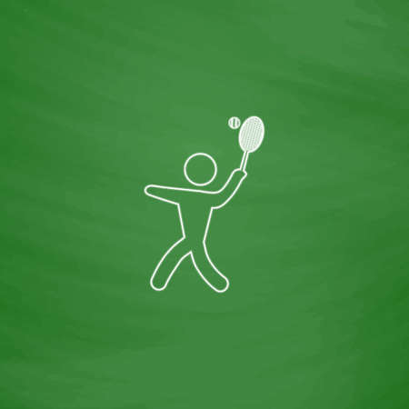 active content: tennis Outline vector icon. Imitation draw with white chalk on green chalkboard. Flat Pictogram and School board background. Illustration symbol Illustration