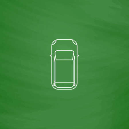 top view car Outline vector icon. Imitation draw with white chalk on green chalkboard. Flat Pictogram and School board background. Illustration symbol Illustration