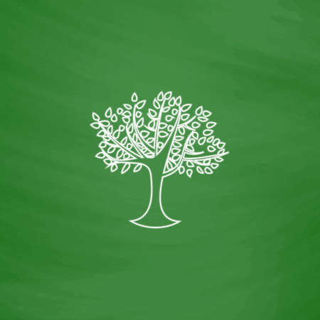 Maple tree Outline vector icon. Imitation draw with white chalk on green chalkboard. Flat Pictogram and School board background. Illustration symbol