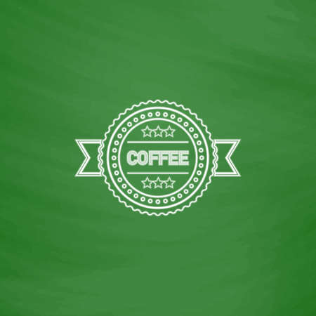 Coffee label Outline vector icon. Imitation draw with white chalk on green chalkboard. Flat Pictogram and School board background. Illustration symbol