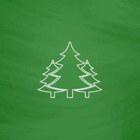 chritmas: chritmas spruce Outline vector icon. Imitation draw with white chalk on green chalkboard. Flat Pictogram and School board background. Illustration symbol