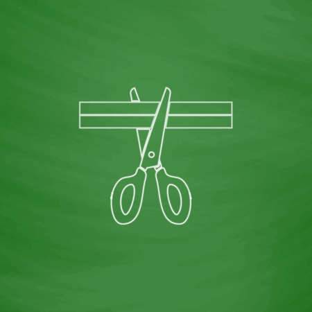 pair of scissors: Presentation Outline vector icon. Imitation draw with white chalk on green chalkboard. Flat Pictogram and School board background. Illustration symbol