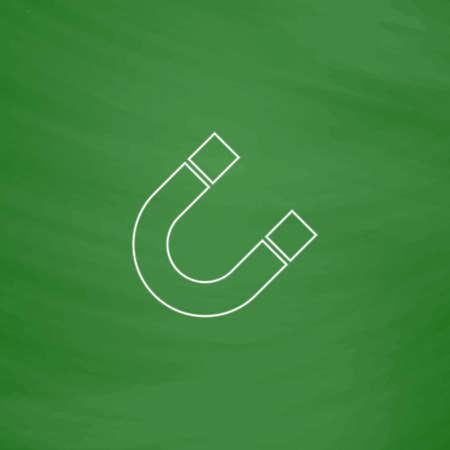 magnetismo: magnetismo Outline vettore icona. Imitazione disegnare con il gesso bianco su lavagna verde. Pittogramma di appartamenti e scuola board background. illustrazione simbolo