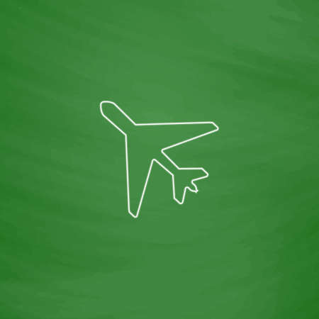 Plane Outline vector icon. Imitation draw with white chalk on green chalkboard. Flat Pictogram and School board background. Illustration symbol