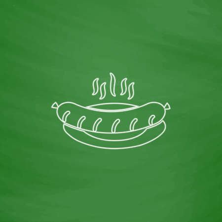 Sausage Outline vector icon. Imitation draw with white chalk on green chalkboard. Flat Pictogram and School board background. Illustration symbol