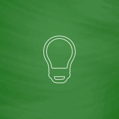 led bulb: Led Bulb Outline vector icon. Imitation draw with white chalk on green chalkboard. Flat Pictogram and School board background. Illustration symbol Illustration