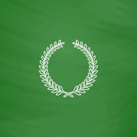 wreath Outline vector icon. Imitation draw with white chalk on green chalkboard. Flat Pictogram and School board background. Illustration symbol