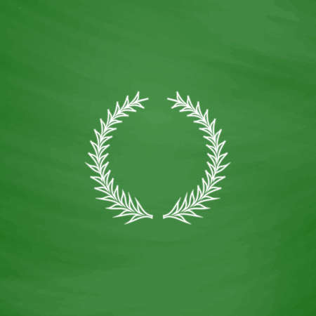 laureate: laureate wreath Outline vector icon. Imitation draw with white chalk on green chalkboard. Flat Pictogram and School board background. Illustration symbol