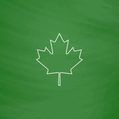 canadian icon: Canadian Leaf Outline vector icon. Imitation draw with white chalk on green chalkboard. Flat Pictogram and School board background. Illustration symbol