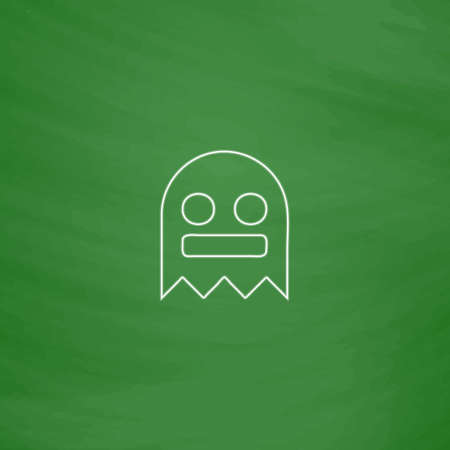 ghostly: ghost Outline vector icon. Imitation draw with white chalk on green chalkboard. Flat Pictogram and School board background. Illustration symbol Illustration