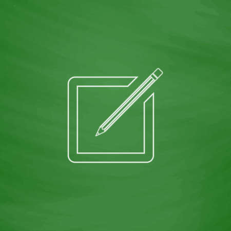 subscription Outline vector icon. Imitation draw with white chalk on green chalkboard. Flat Pictogram and School board background. Illustration symbol Illustration