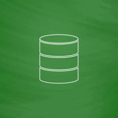 db: Database Outline vector icon. Imitation draw with white chalk on green chalkboard. Flat Pictogram and School board background. Illustration symbol