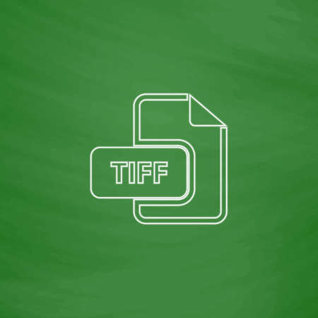 tiff: TIFF Outline vector icon. Imitation draw with white chalk on green chalkboard. Flat Pictogram and School board background. Illustration symbol Illustration