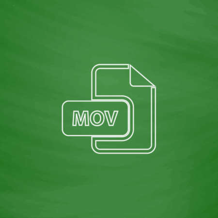 mov: MOV Outline vector icon. Imitation draw with white chalk on green chalkboard. Flat Pictogram and School board background. Illustration symbol